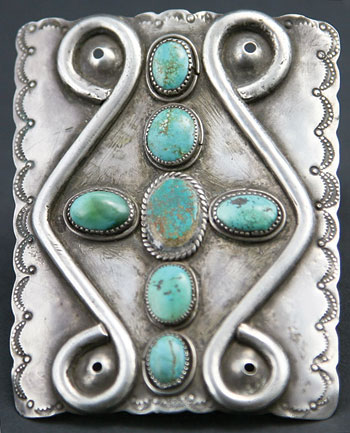 Navajo Turquoise and Silver Ketoh   c. 1920   3.5 x 2.75