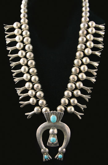 Navajo Turquoise and Silver Squash Blossom Necklace   c. 1930