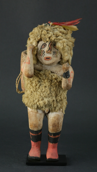 Kachina with wool fibers