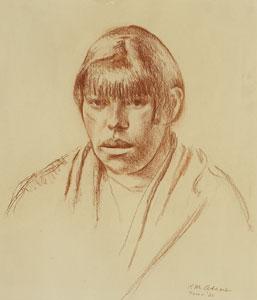 """Kenneth Adams, Taos Woman, 1926, Conte Crayon, 14"""" x 12"""""""