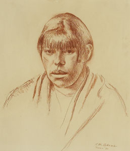 "Kenneth Adams, Taos Woman, 1926, Conte Crayon, 14"" x 12"""