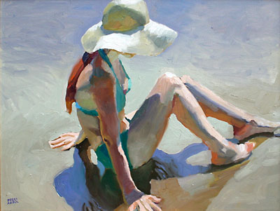 Peggi Kroll-Roberts, Figure with Beach Hat, Oil on Canvas, 18