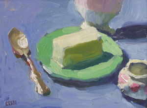 Peggi Kroll-Roberts, Butter on Green Plate, Oil on Canvas, 9