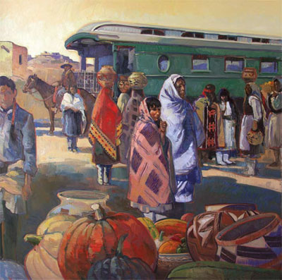 "Francis Livingston, Laguna Depot, Oil on Panel, 60"" x 60"""