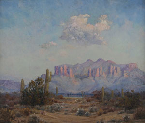 "Leola Hall Coggins, Superstition Mountains, Apache Junction AZ, Circa 1920, oil on canvas board, 20"" x 24"""