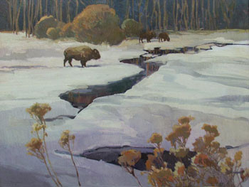 Francis Livingston, Winter Bison, Oil on Panel, 30