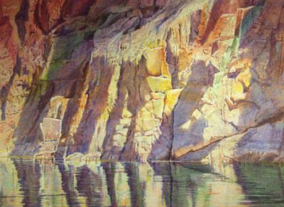 "Merrill Mahaffey, Canyon Reflection (Vishnu Cornerline), Acrylic on Canvas, 40"" x 56"""