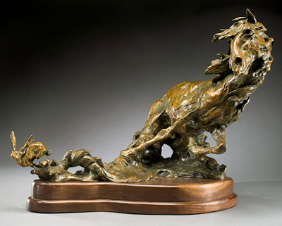 Jan Mapes, Hare Triggered, Bronze Edition of 15, 11