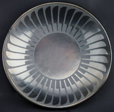 """Maria Popovi Black on Black Feather Plate, dated 11/67, 1/2"""" x 6.75"""""""