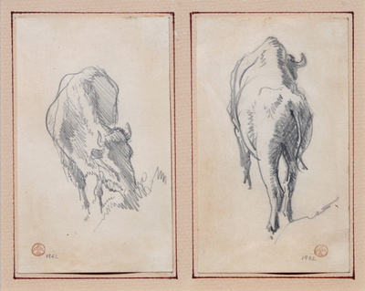 Maynard Dixon (1875-1946) Pair of Bison Sketches, Graphite on paper, circa 1942, 5 by 3 inches each