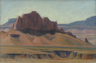 "Ed Mell, Butte, Pastel, 7"" x 10"""