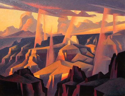 Ed Mell, Rain Spears, Grand Canyon, Oil on Canvas, 24