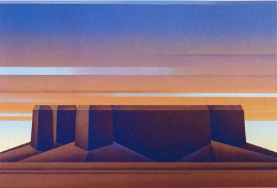 Ed Mell, Flat Mesa, Lithograph 34/100, 22