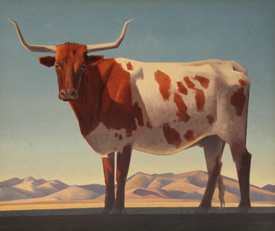 """Ed Mell, Patagonia Longhorn, Oil on Canvas, 34"""" x 40"""""""