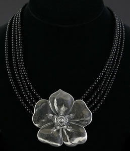 Miramontes Large Wild Rose Necklace with Four Strands of Onyx Beads