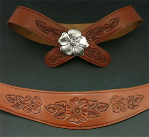 Miramontes Tooled Leather Belt with Wild Rose Silver Buckle
