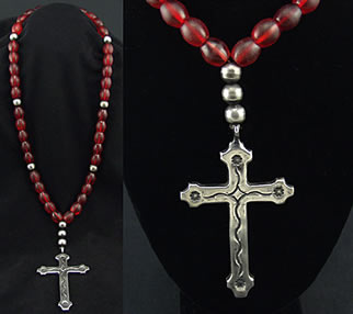 Miramontes Long Necklace of Rare, Old Ruby Glass Beads (1800s) and Old Style Silver Beads with Old Style Padre Cross Strung on Artificial Gut, (sandcast) Cross can be worn either side