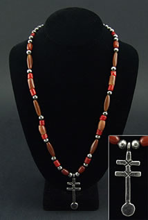 Miramontes Old Glass Simulated Carnelian Four Square Beads (tube faceted, probably Czech) with Old Style Silver and Red Beads and Sandcast Dragonfly Pendant Strung on Gut.