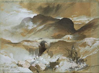 """Thomas Moran, The Pass at Glencoe, Scotland, Mixed Media, September 25, 1882, 10"""" x 14"""""""