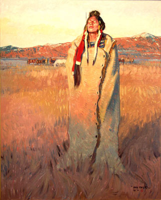 "John Moyers, Blackfeet Winter, Oil on Canvas, 50"" x 40"""