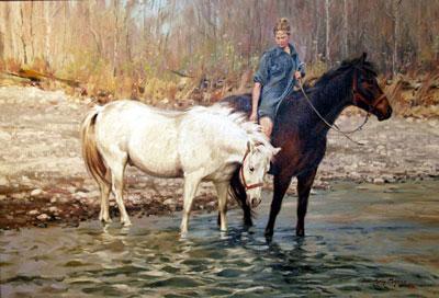 """Terri Kelly Moyers, October Breezes, Oil on Canvas, 30"""" x 44"""""""