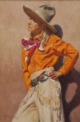 """Terri Kelly Moyers, Pendleton Girl, Oil on Canvas, 36"""" x 24"""""""
