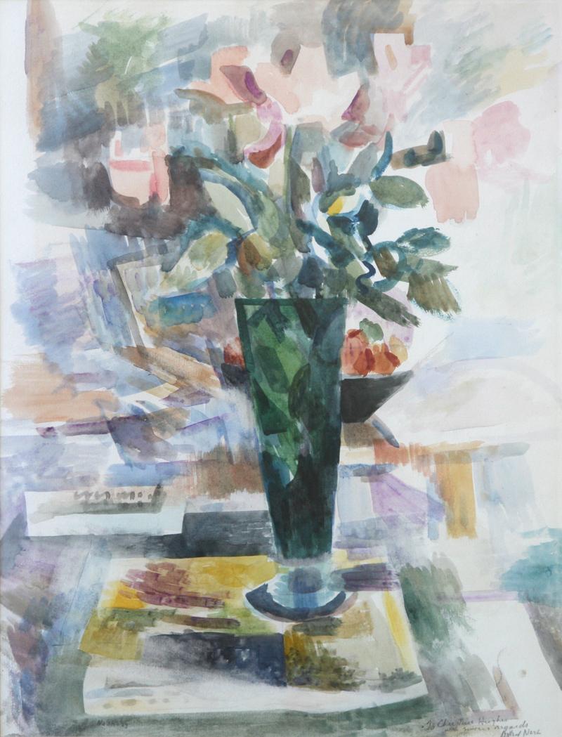 "Willard Nash (1898-1943) Still Life Vase with Flowers, Watercolor, 19.25"" x 14.25"""