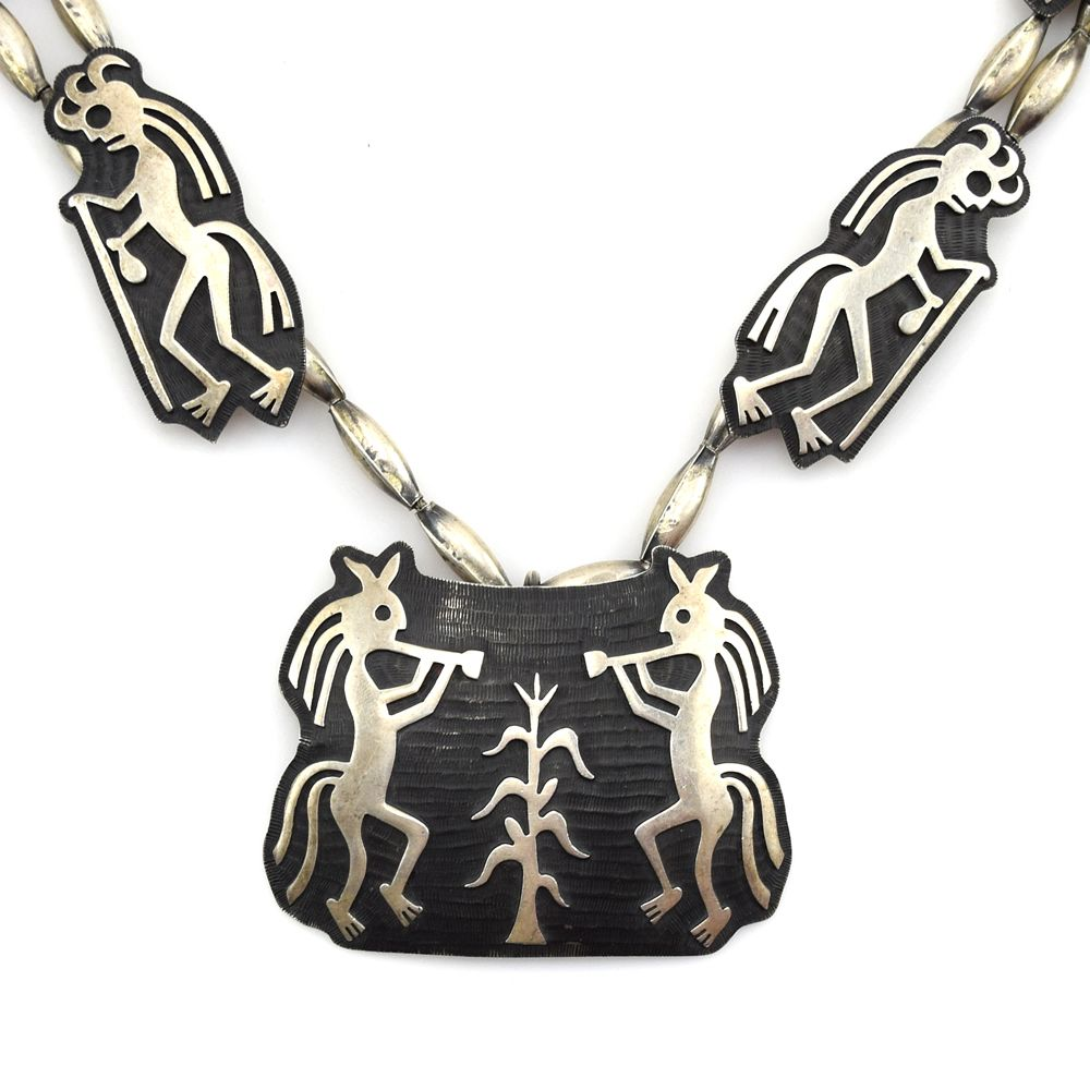 Bernard Dawahoya - Hopi Silver Overlay Kokopelli Necklace c. 1980s