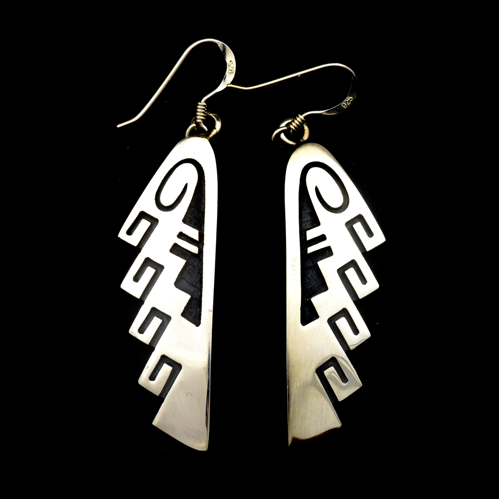 Hopi Contemporary Sterling Silver Overlay Hook Earrings by Darren Seweyestewa