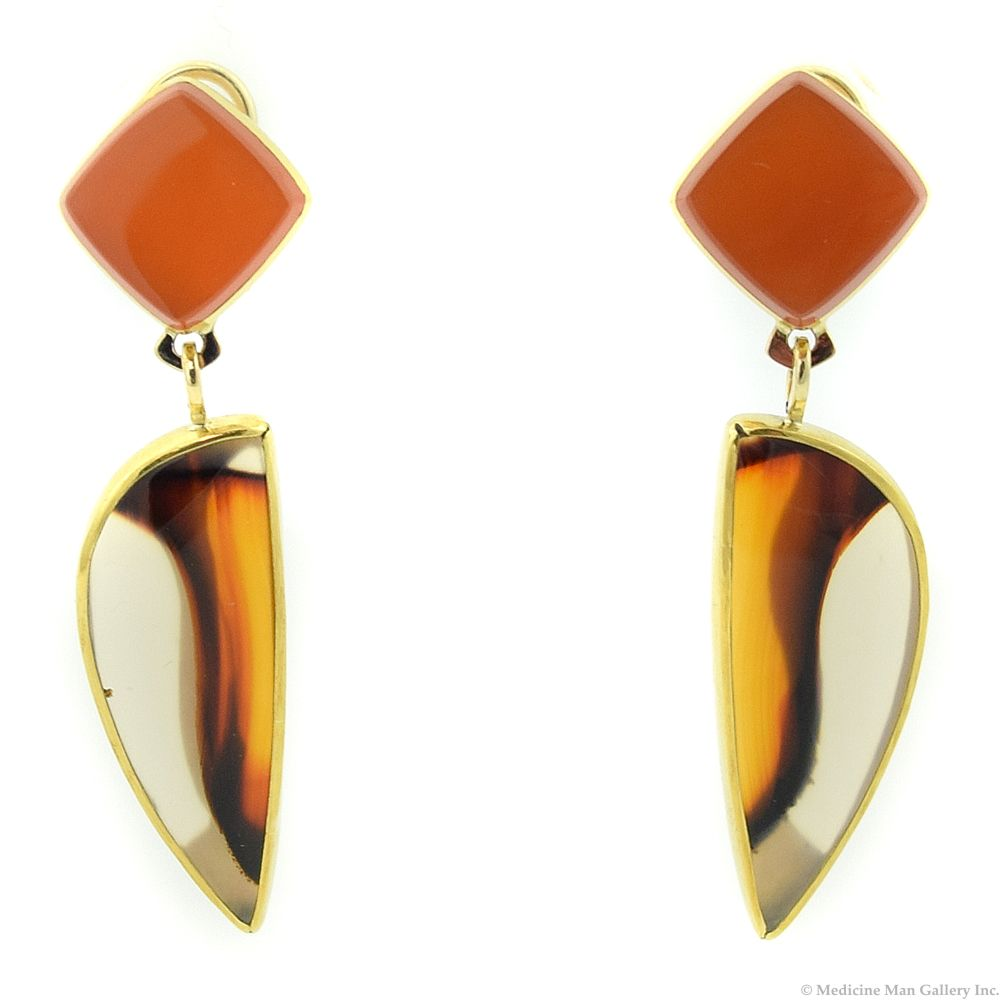 14KT Gold Earrings with Montana Agate and Chalcedony by Duane Maktima
