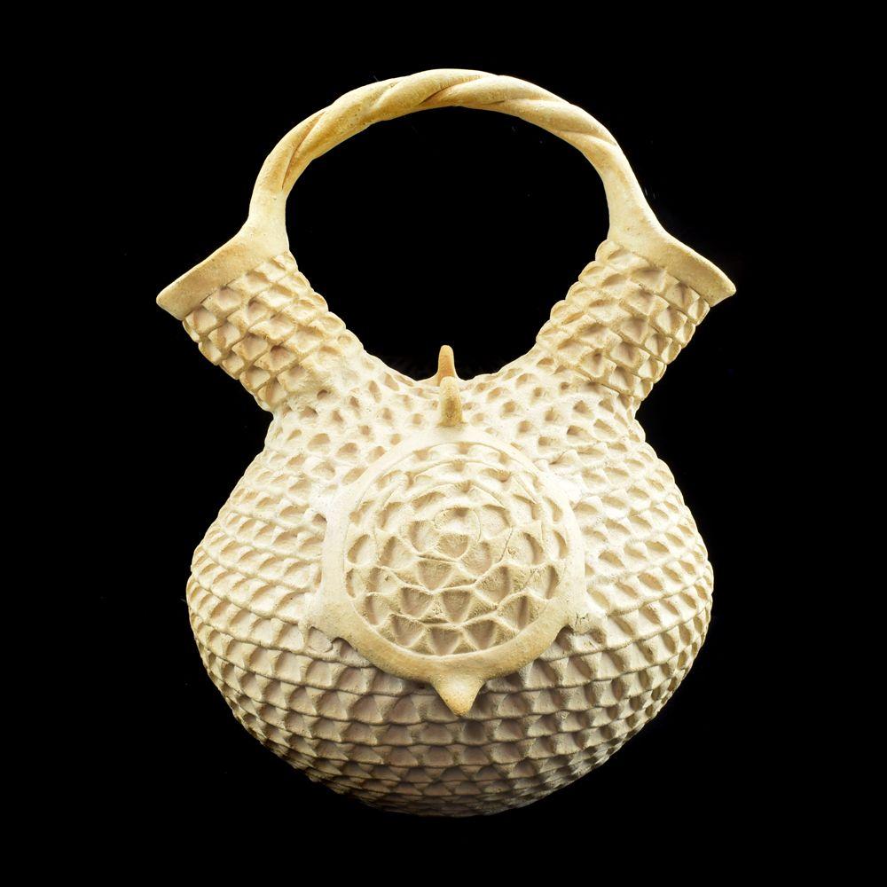 Stella Shutiva - Acoma Corrugated Wedding Vase with Turtles