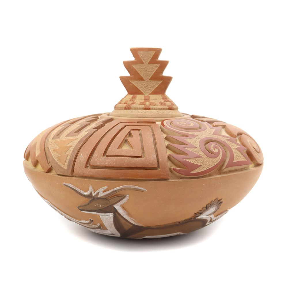 Grace Medicine Flower - Santa Clara Polychrome Lidded Carved Jar with Deer Pictorials and Micaceous Accents