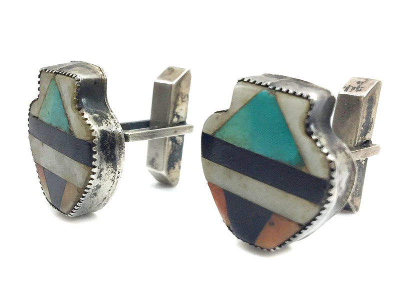 Zuni Turquoise, Spiny Oyster, Mother of Pearl, Jet, and Serpentine Inlay Silver Cuff Links by Teddy Weahkee