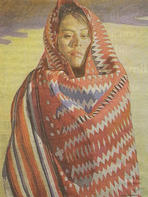 "A painting by Ray Roberts, ""Navajo Woman"" is one of several works by the artist now on display at the gallery."