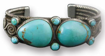 Navajo Turquoise and Silver Bracelet, c. 1920