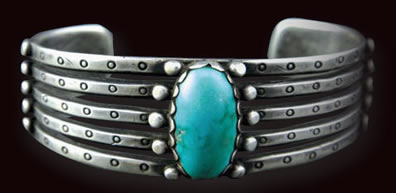 Navajo Turquoise and Silver Bracelet, c. 1900