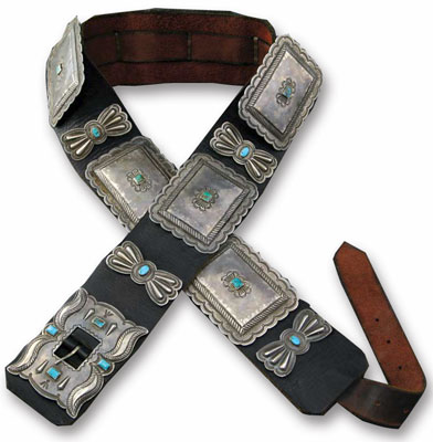 Navajo Silver and Turquoise Concho Belt, c. 1920