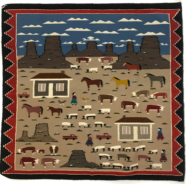 Navajo pictorial rug with trucks, sheep, and people