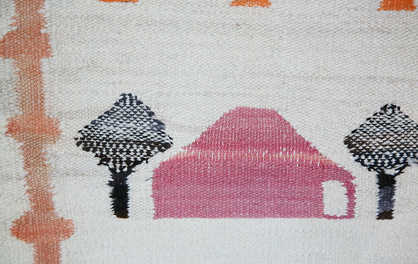 Navajo pictorial transitional rug with trees