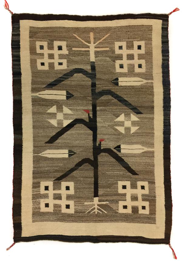 Navajo Crystal pictorial rug with cornstalk