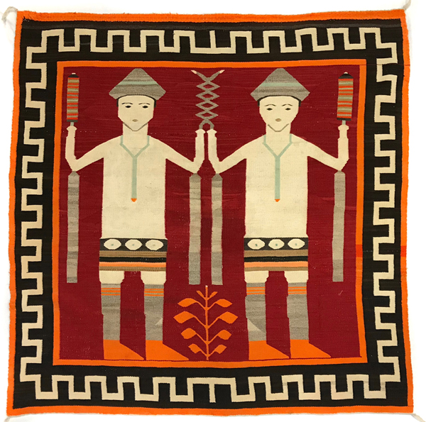 Navajo pictorial rug with Mountain Way dancers
