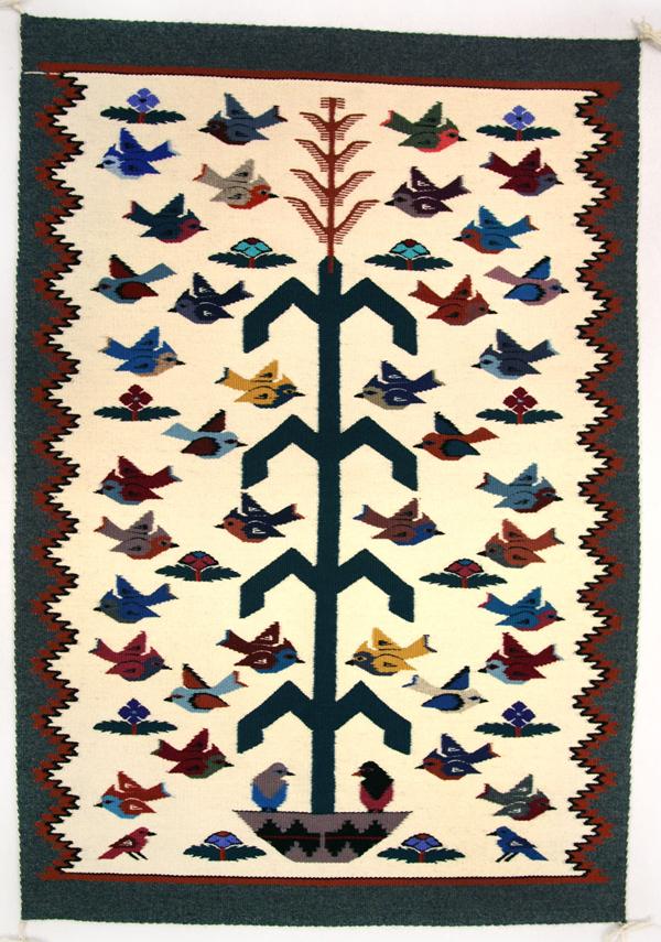 Navajo pictorial rug with birds