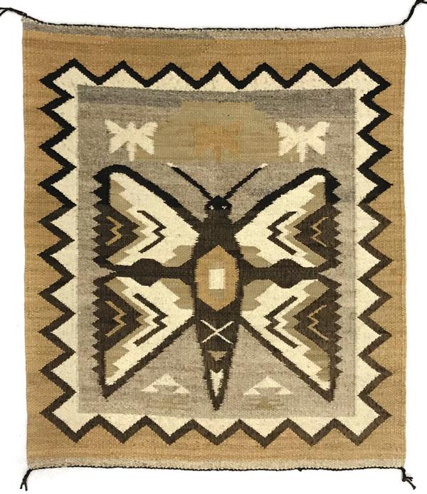 Navajo pictorial weaving butterfly motif