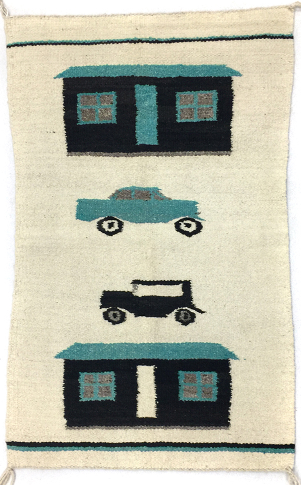 Navajo pictorial rug with trucks and houses