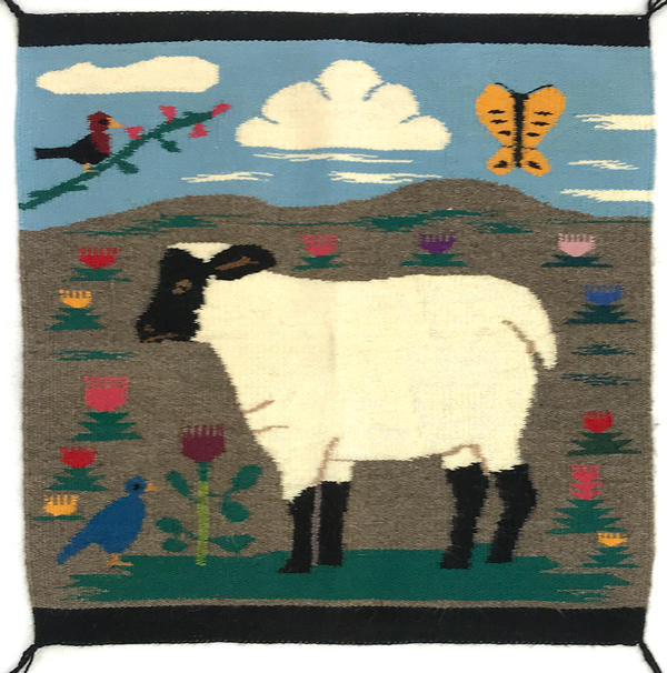 Navajo Pictorial rug with lamb and flowers