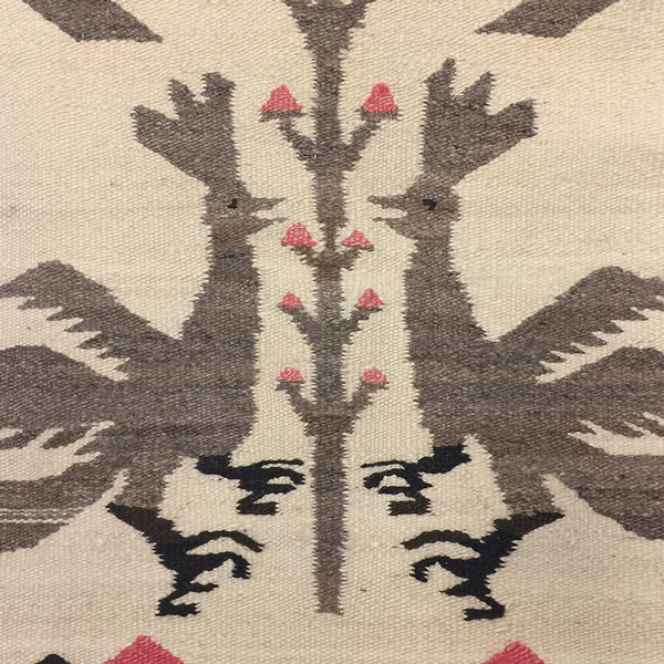 Navajo pictorial rug with roosters