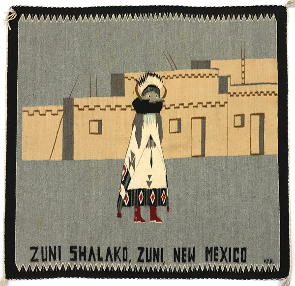 Navajo Pictorial rug with Zuni Kachina dancer