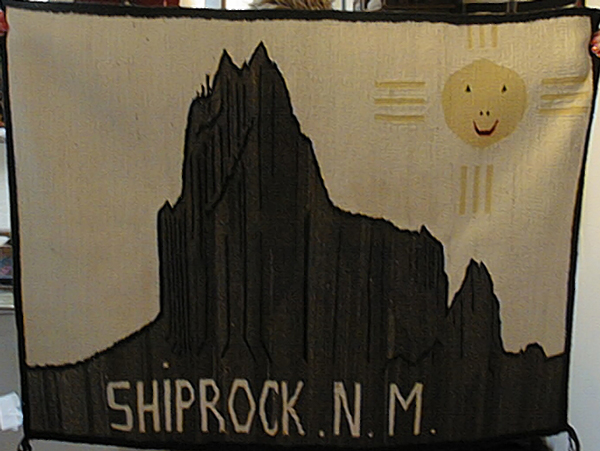Navajo pictorial rug with Shiprock