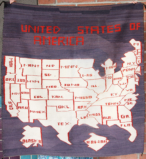 Navajo Pictorial Rug with United States Map