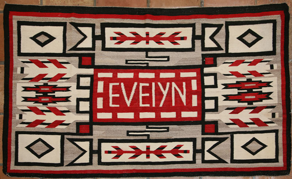 Navajo Pictorial Rug with Evelyn